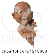 Clipart Of A 3d Black Baby Boy Pointing Around A Sign Royalty Free Illustration