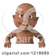 Clipart Of A 3d Black Baby Boy Over A Sign Royalty Free Illustration