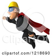 Clipart Of A 3d Flying Builder Man Superhero Royalty Free Illustration