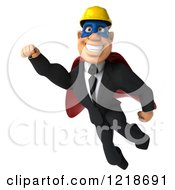 Clipart Of A 3d Flying Builder Man Superhero 2 Royalty Free Illustration