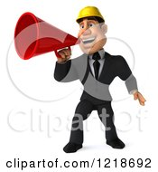 Clipart Of A 3d Strong Builder Man Using A Megaphone Royalty Free Illustration