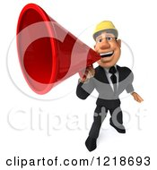 Clipart Of A 3d Strong Builder Man Using A Megaphone 2 Royalty Free Illustration