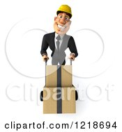 Clipart Of A 3d Strong Builder Man Moving Boxes On A Dolly Royalty Free Illustration