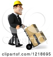 Clipart Of A 3d Strong Builder Man Moving Boxes On A Dolly 2 Royalty Free Illustration