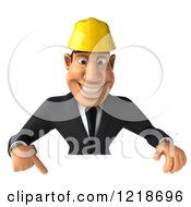 Clipart Of A 3d Strong Builder Man Pointing Down To A Sign Royalty Free Illustration
