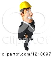 Clipart Of A 3d Strong Builder Man Facing Right Royalty Free Illustration