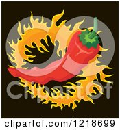 Clipart Of A Spicy Red Chili Pepper Over A Cirle Of Flames On Black Royalty Free Vector Illustration