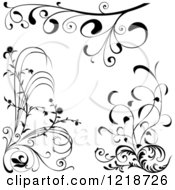 Clipart Of Black And White Floral Design Elements Royalty Free Vector Illustration by dero