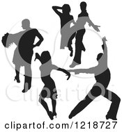 Clipart Of A Black Silhouetted Latin Dance Couples 5 Royalty Free Vector Illustration
