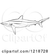 Clipart Of A Black And White Silky Shark Royalty Free Vector Illustration