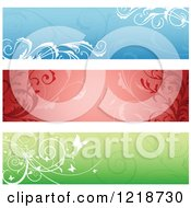 Clipart Of Blue Red And Green Floral Website Banners Royalty Free Vector Illustration