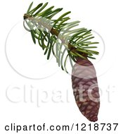 Clipart Of A Pine Cone On A Branch Royalty Free Vector Illustration