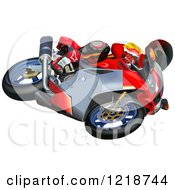 Clipart Of A Man Riding An Aprilia Motorcycle Royalty Free Vector Illustration