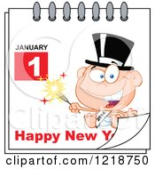 Clipart Of A Calendar Page With A Baby And Happy New Year Greeting Royalty Free Vector Illustration by Hit Toon