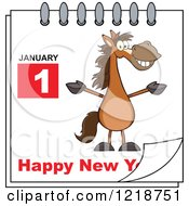 Clipart Of A Calendar Page With A Horse And Happy New Year Greeting Royalty Free Vector Illustration