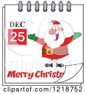 Calendar Page With A Happy Santa And A Merry Christmas Greeting