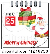 Calendar Page With Santa Holding Gifts And A Merry Christmas Greeting