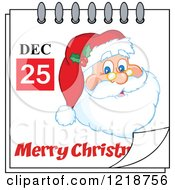Calendar Page With Santa And A Merry Christmas Greeting