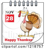 Clipart Of A Calendar Page With A Turkey Bird And Happy Thanksgiving Greeting Royalty Free Vector Illustration