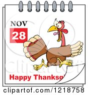 Clipart Of A Calendar Page With A Running Turkey Bird And Happy Thanksgiving Greeting Royalty Free Vector Illustration