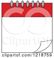 Clipart Of A Turning Red And White Blank Calendar Page Royalty Free Vector Illustration
