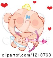 Cute Happy Cupid Holding A Pink Bow And Arrow With Red Hearts