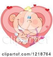 Clipart Of A Cute Happy Cupid Holding A Pink Bow And Arrow With Hearts Royalty Free Vector Illustration