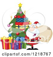 Santa Happily Holding Up Gifts By A Christmas Tree