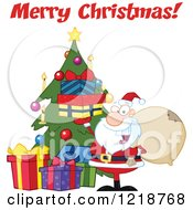 Clipart Of Merry Christmas Text Over Santa Holding Up Gifts By A Christmas Tree Royalty Free Vector Illustration