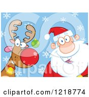 Clipart Of Santa Claus And A Goofy Reindeer Over Blue With Snowflakes Royalty Free Vector Illustration by Hit Toon