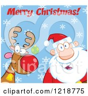 Clipart Of Merry Christmas Text Over Santa Claus And A Goofy Reindeer Over Blue With Snowflakes Royalty Free Vector Illustration