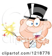 Clipart Of A Happy New Year Baby Wearing A Sash And Holding A Sparkler Royalty Free Vector Illustration by Hit Toon