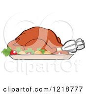 Clipart Of A Roasted Thanksgiving Turkey With Vegetables Royalty Free Vector Illustration