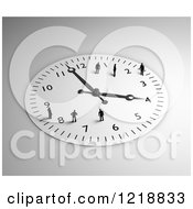 Clipart Of A 3d Wall Clock With Tiny People On It Royalty Free Illustration by Mopic