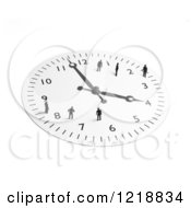Clipart Of A 3d Wall Clock With Tiny People On It 2 Royalty Free Illustration by Mopic