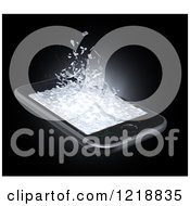 Clipart Of A 3d Cell Phone With A Shattering Display 2 Royalty Free Illustration