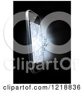 Clipart Of A 3d Cell Phone With A Shattering Display Royalty Free Illustration