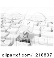 Clipart Of A 3d Qustion Mark Computer Button Popping Out Royalty Free Illustration by Mopic