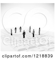 Clipart Of 3d Tiny People On A Computer Keyboard Royalty Free Illustration
