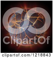 Clipart Of A 3d Burning And Cracking Globe Royalty Free Illustration by Mopic