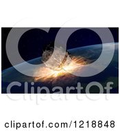 Clipart Of A 3d Asteroid Colliding Into Earth Royalty Free Illustration