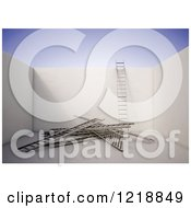 Clipart Of A 3d Room With Ladders On The Floor And One Against A Wall Royalty Free Illustration by Mopic