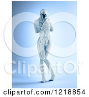 Clipart Of A 3d Rear View Of A Female With Visible Skeleton Royalty Free Illustration