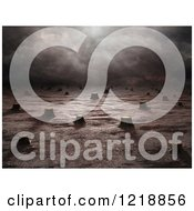 Clipart Of A 3d Deforested Landscape Royalty Free Illustration