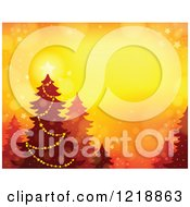 Clipart Of A Background With A Christmas Tree Flares On Orange Royalty Free Vector Illustration