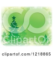 Clipart Of A Green Background With A Christmas Tree And Faded Borders Royalty Free Vector Illustration