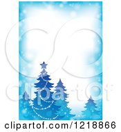 Clipart Of A Blue Border With A Christmas Tree And Flares Royalty Free Vector Illustration