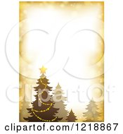 Clipart Of A Golden Border With A Christmas Tree And Flares Royalty Free Vector Illustration
