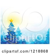 Clipart Of A Background With A Christmas Tree And Glowing Star Royalty Free Vector Illustration