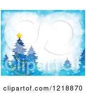 Clipart Of A Background With A Christmas Tree And Faded Borders Royalty Free Vector Illustration